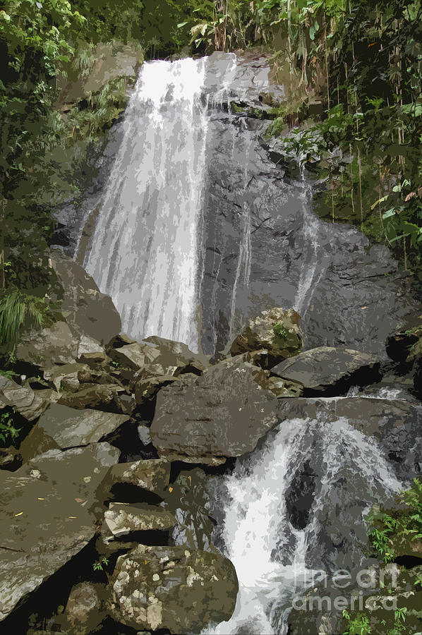 La Coca Falls El Yunque National Rainforest Puerto Rico Prints Cutout Digital Art  - La Coca Falls El Yunque National Rainforest Puerto Rico Prints Cutout Fine Art Print