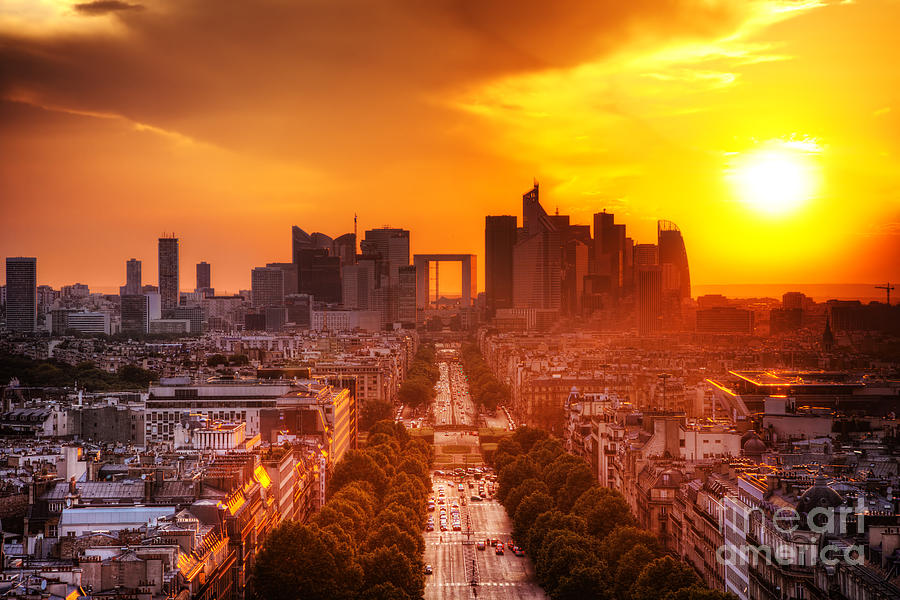 La Defense And Champs Elysees At Sunset Photograph