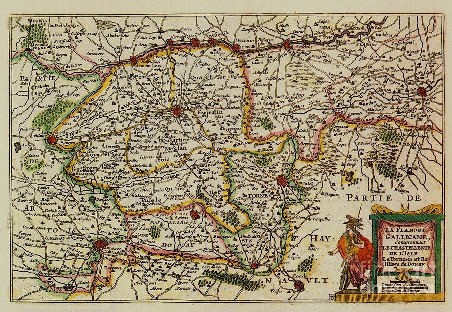 La Fandre Gallicane Vintage Map Photograph