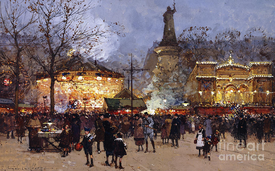 La Fete Place De La Republique Paris Painting