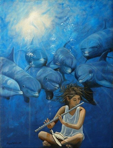 La Flautista Painting