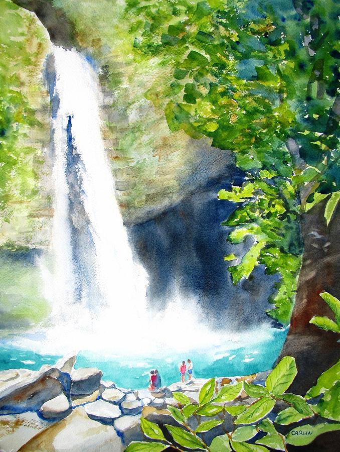 La Fortuna Waterfall Painting By Carlin Blahnik