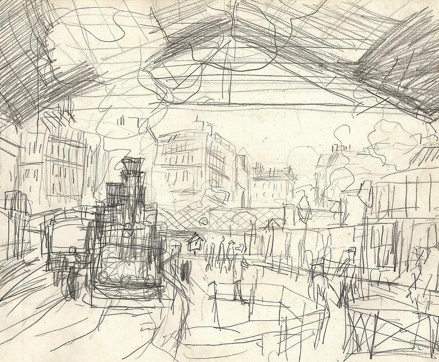 La Gare Saint Lazare Drawing