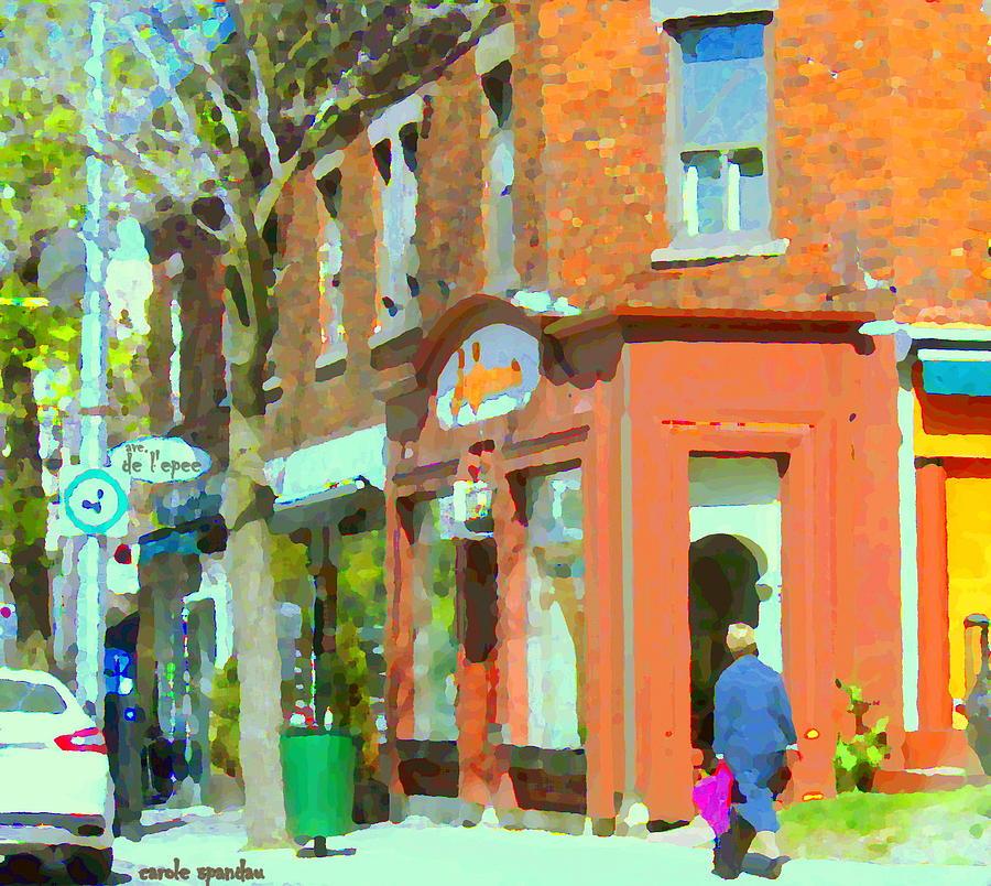 Montreal Painting - La Hacienda Resto Rue De Lepee Et Van Horne Outremont Montreal Spring City Scene Carole Spandau by Carole Spandau