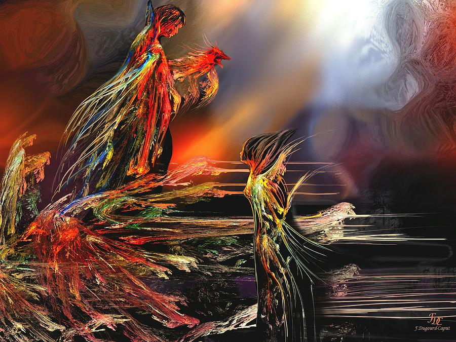 Abstract Digital Art - La Rencontre by Francoise Dugourd-Caput
