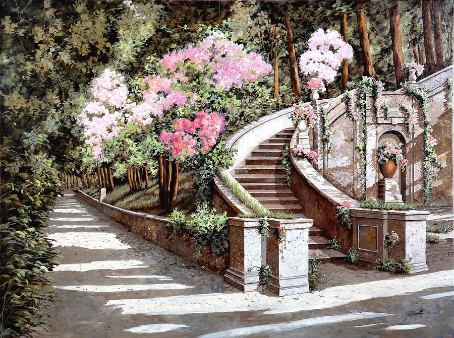 La Scalinata E I Fiori Rosa Painting