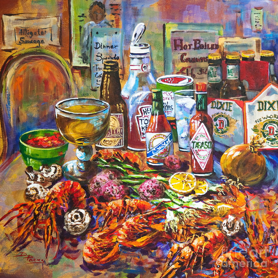 la table de fruits de mer painting by dianne parks. Black Bedroom Furniture Sets. Home Design Ideas