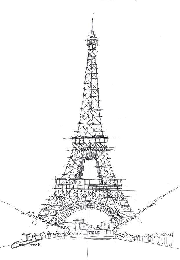 La tour eiffel sketch drawing by calvin durham - Dimensions de la tour eiffel ...