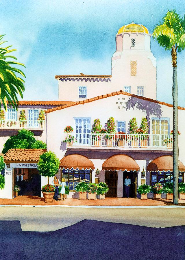 La Valencia Hotel Painting - La Valencia Hotel by Mary Helmreich