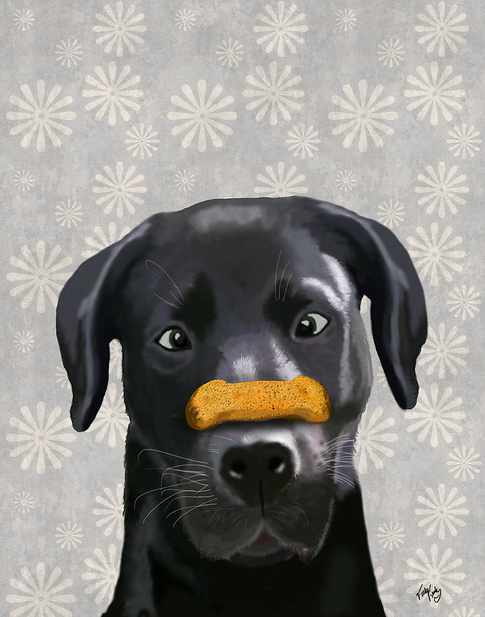 Labrador Black With Bone On Nose Digital Art  - Labrador Black With Bone On Nose Fine Art Print