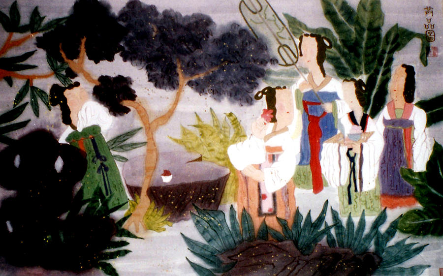 Ladies At The Garden Painting
