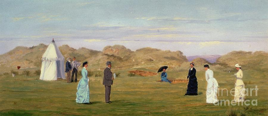 Ladies Match At Westward Ho Painting  - Ladies Match At Westward Ho Fine Art Print