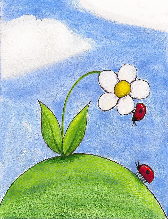 Lady Bug Love Painting  - Lady Bug Love Fine Art Print