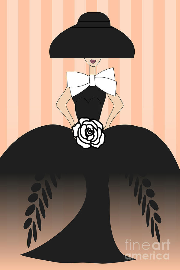 Lady In Black Ball Gown II Digital Art