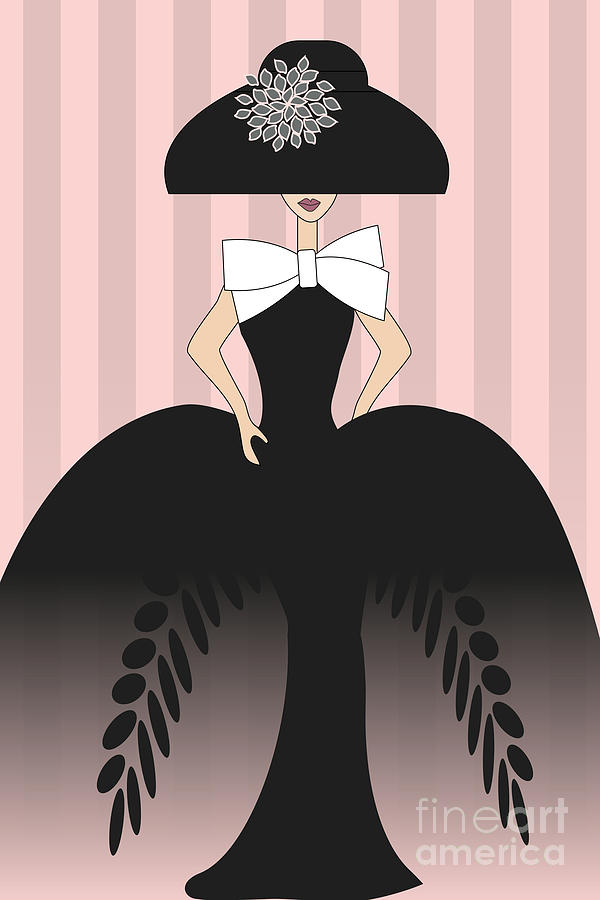 Lady In Black Ball Gown  Digital Art