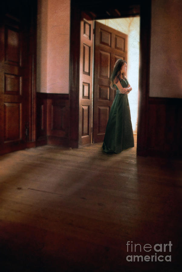 Lady In Green Gown In Doorway Photograph  - Lady In Green Gown In Doorway Fine Art Print