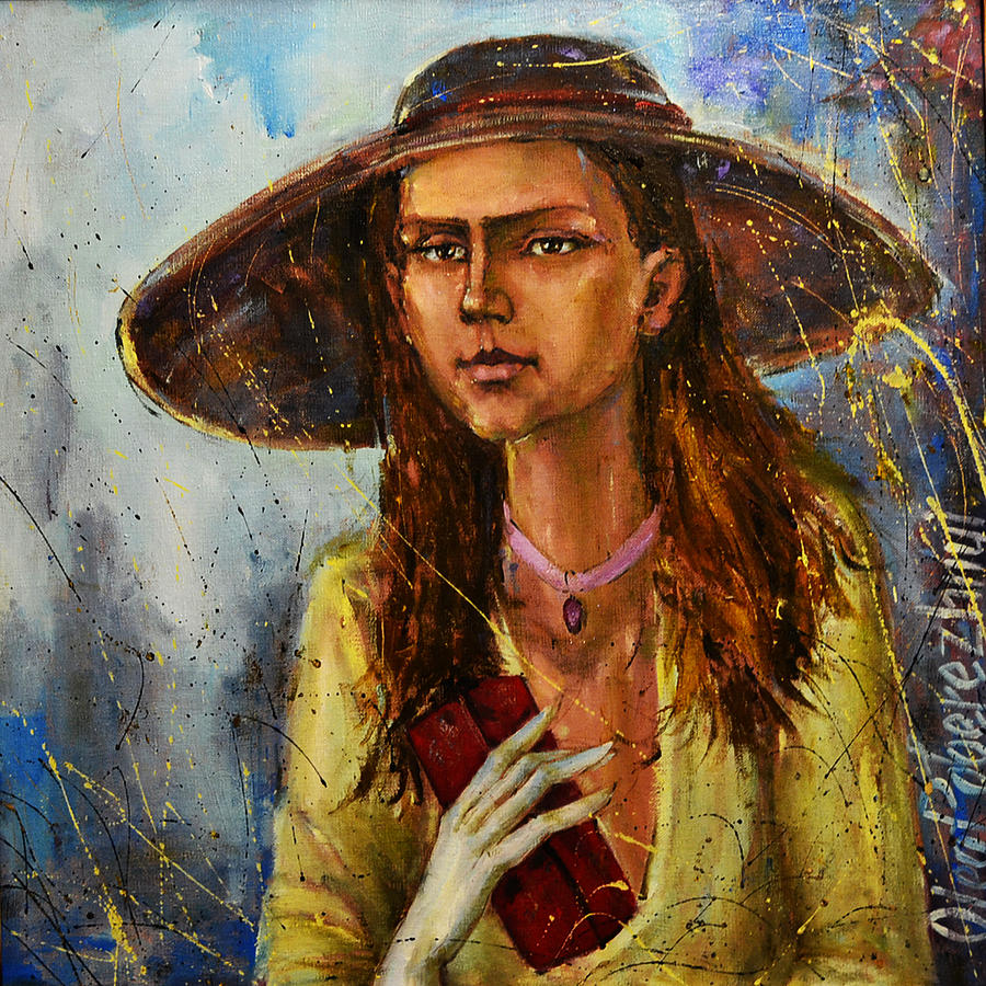 Lady In Hat Painting  - Lady In Hat Fine Art Print