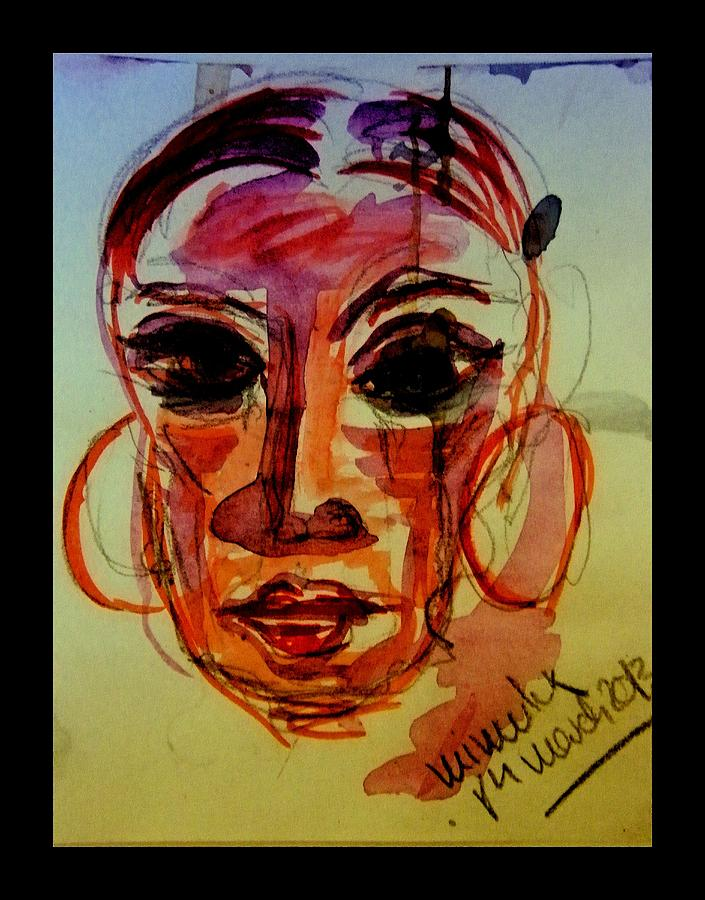 Red Drawing - Lady In Red - Silent Tears by Mimulux patricia no