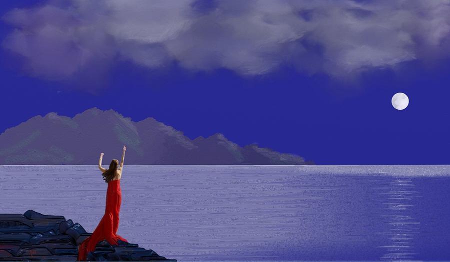 Lady In Red Digital Art