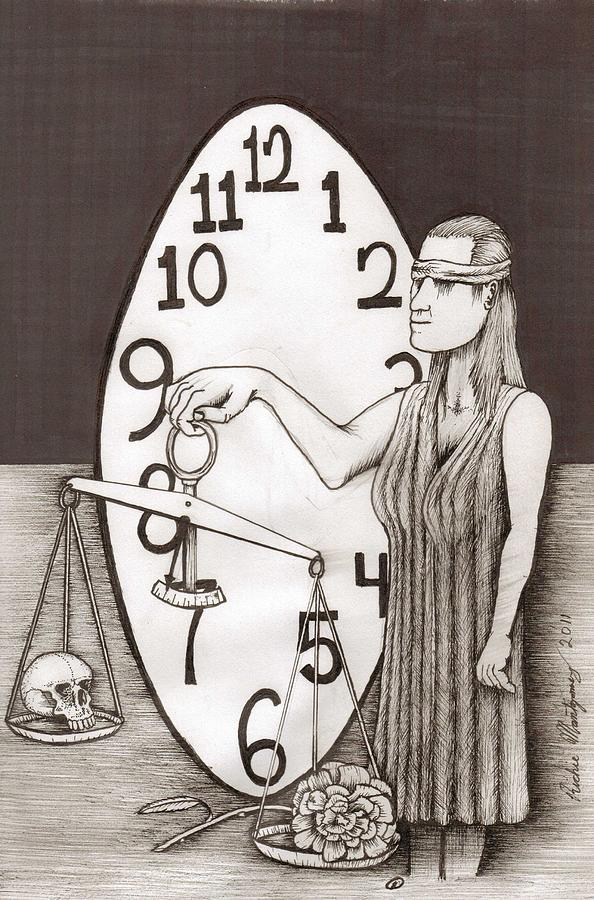 Lady Justice And The Handless Clock Painting