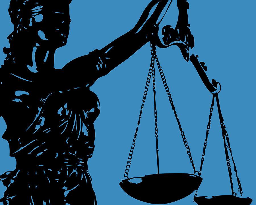 Lady Justice Blue Digital Art by Flo Karp