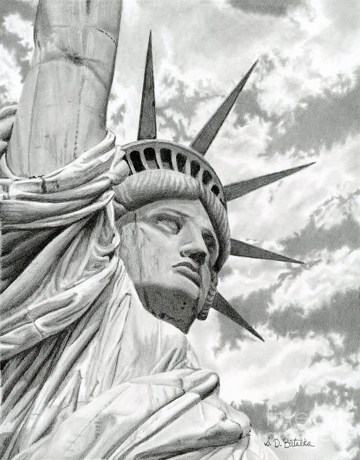 Statue Of Liberty Drawing - Lady Liberty  by Sarah Batalka