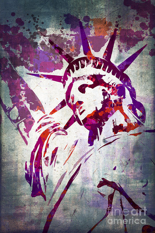 Lady Liberty Watercolor Painting  - Lady Liberty Watercolor Fine Art Print