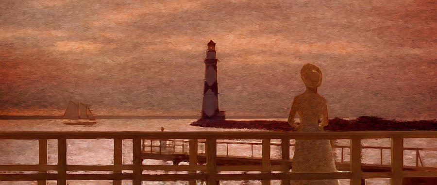 Lady Near The Piers Painting  - Lady Near The Piers Fine Art Print