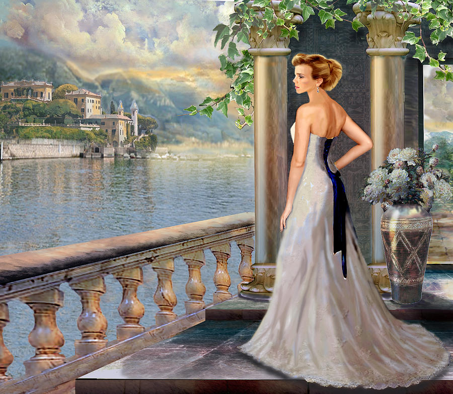 Lady On The Stairs By Lake Como.  Painting