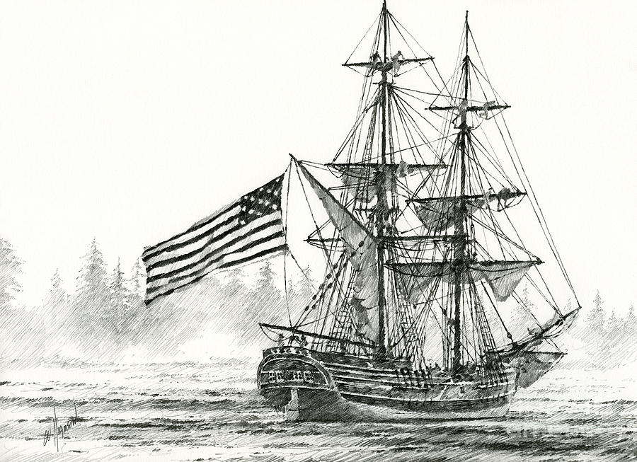 Lady Washington At Friendly Cove Drawing