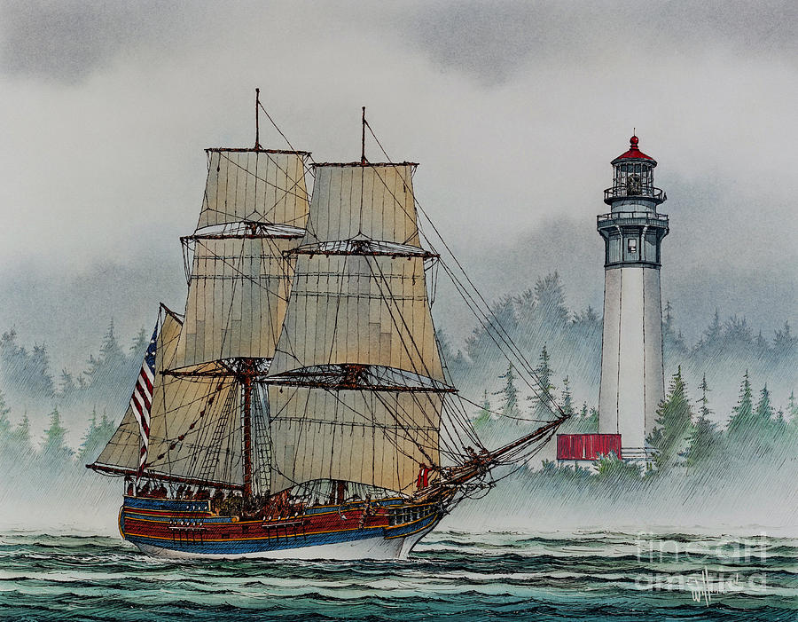 Lady Washington At Grays Harbor Painting  - Lady Washington At Grays Harbor Fine Art Print