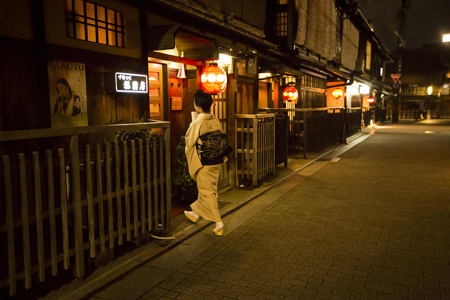Lady With A Kimono Entering An Entertainment House In Kyoto Photograph  - Lady With A Kimono Entering An Entertainment House In Kyoto Fine Art Print