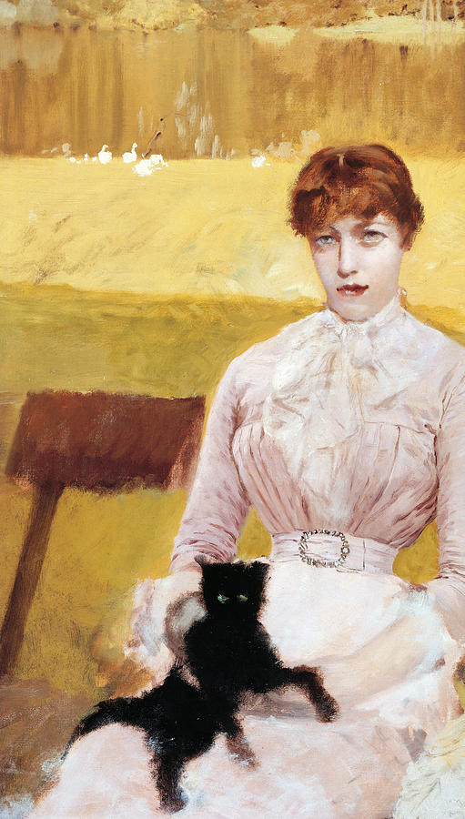 Lady With Black Kitten Painting