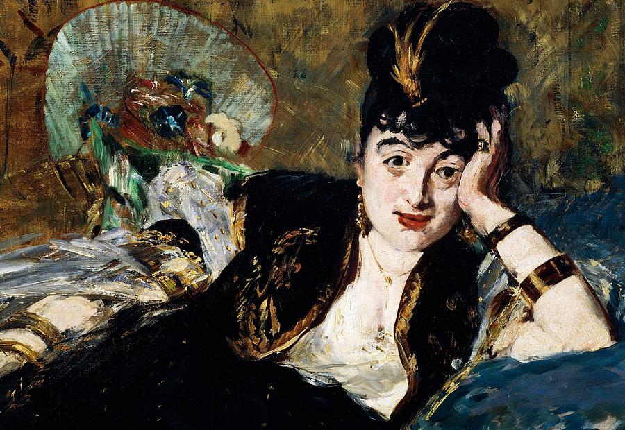 Lady With Fan Portrait Of Marie Anne De Callias Known As Nina De Callias Painting