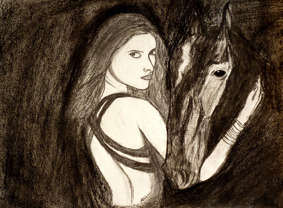 Lady With Horse Drawing  - Lady With Horse Fine Art Print
