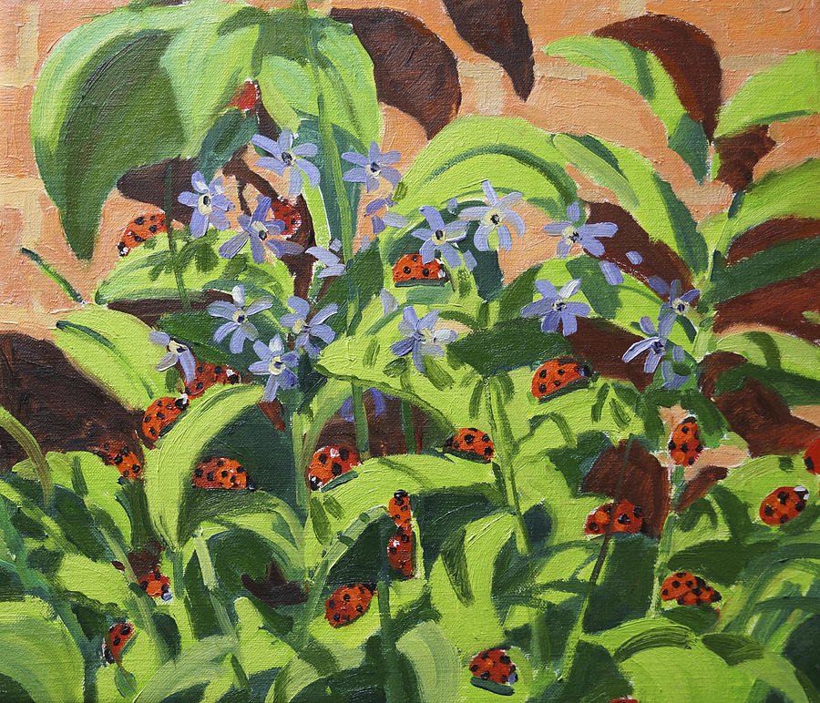 Floral Painting - Ladybirds by Andrew Macara