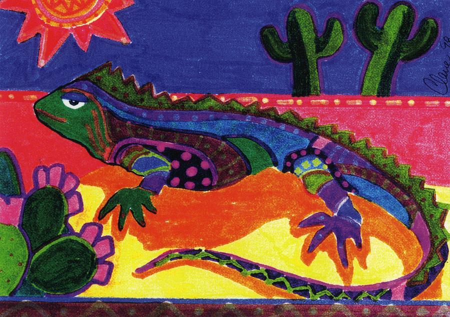 Lizard Painting - Lagarto by Claire Bistline