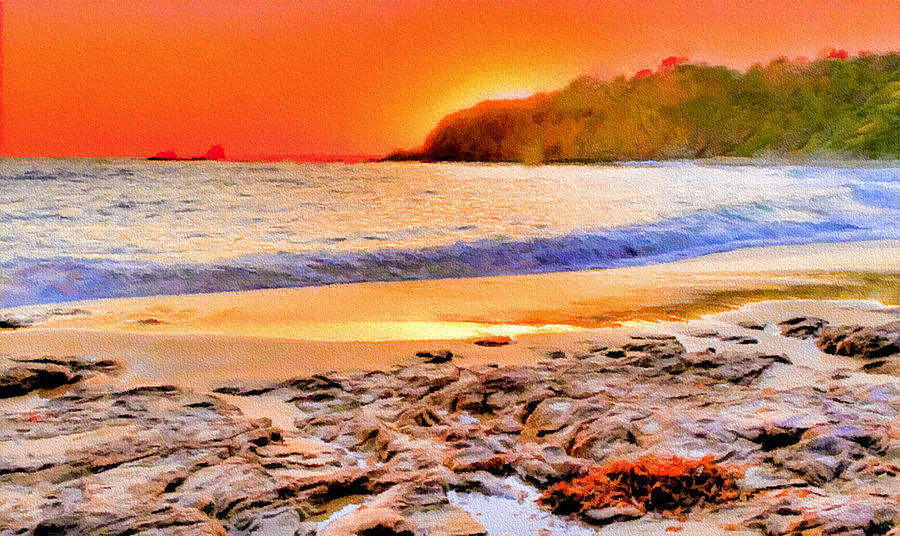 Laguna Beach At Sunset Painting  - Laguna Beach At Sunset Fine Art Print