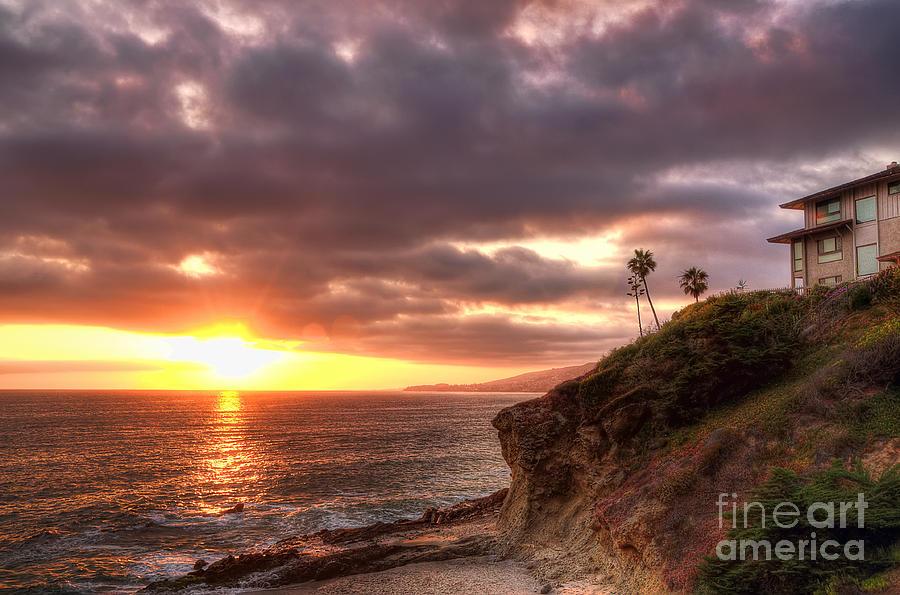 Palm Tree Photograph - Laguna Beach Sunset by Eddie Yerkish