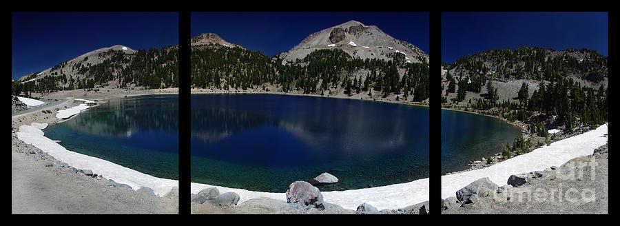 Mirror Photograph - Lake Helen At Mt Lassen Triptych by Peter Piatt