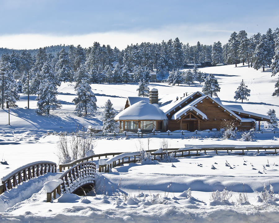 Evergreen Colorado Photograph - Lake House In Snow by Ron White