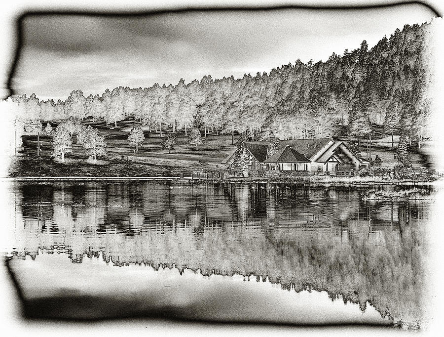 Lake House Reflection Photograph  - Lake House Reflection Fine Art Print