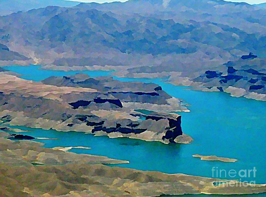 Lake Mead Aerial Shot Painting  - Lake Mead Aerial Shot Fine Art Print