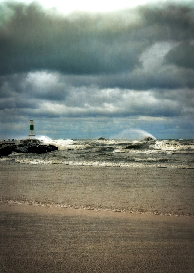 Lake Michigan With Big Wind  Photograph  - Lake Michigan With Big Wind  Fine Art Print