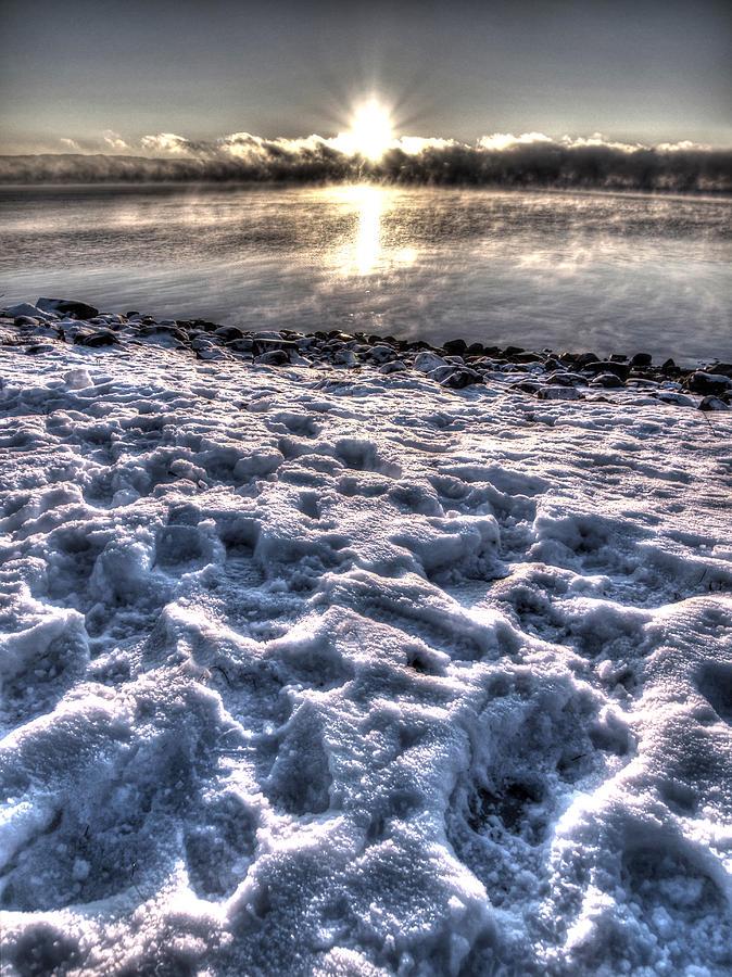 Seascape Photograph - Lake Mjosa Sunset by Chris Shirley