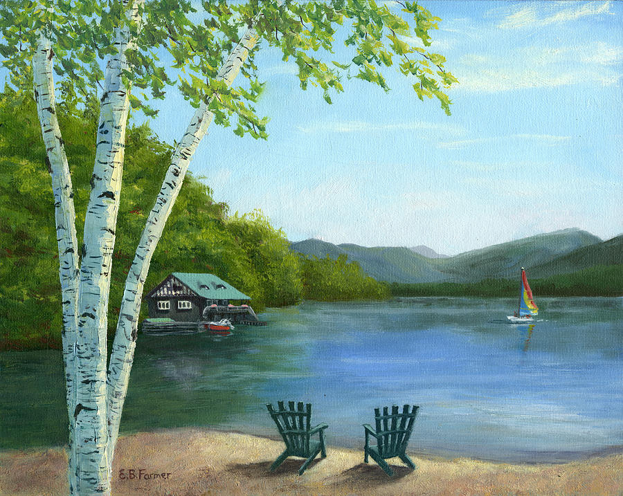 Lake Saranac Boat House is a painting by Elaine Farmer which was ...