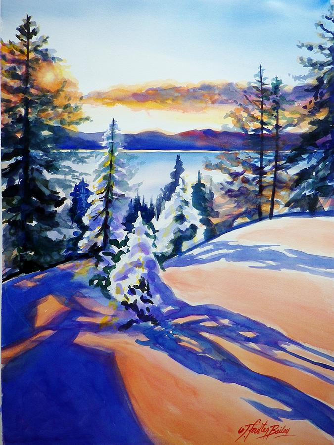 Lake Tahoe Winter Glow Painting  - Lake Tahoe Winter Glow Fine Art Print