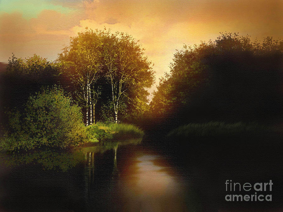 Landscape Painting - Lake Trees by Robert Foster