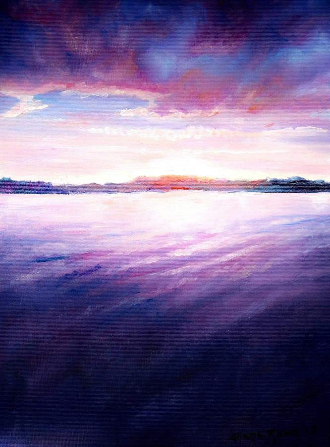 Lakeside Sunset Painting
