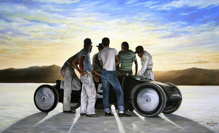Hot Rod Painting - Lakester At Dawn by Ruben Duran